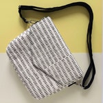 Handmade Crossbody Bag - Silkscreen printed handbag - Envelope purse - Natural  cotton canvas handprinted Hairy pattern Monochrome