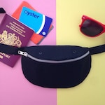 Black Canvas Bumbag, Fanny pack, Hip bag, handprinted, handmade