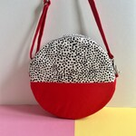 Pill Circular Crossbody Bag, Screen Printed Colour Block Red Handbag, Round Shoulder Bag, Dot pattern