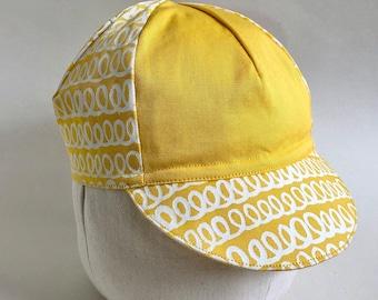 Screen printed Cotton Cycling Cap, Tortoise and Hare Cycling Cap, Handmade Messenger Cap, Four Panel Bike Cap