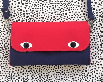 Eyebag Accordion Wallet, Necessary Wallet, Cross Body Bag, Screen print Handmade Purse, Red Face and Navy Body