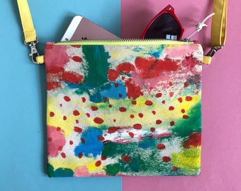 Hand Painted Cotton Canvas Crossbody Bag, Abstract Art Zip Pouch, Small Handbag, Original Painting, One of a kind