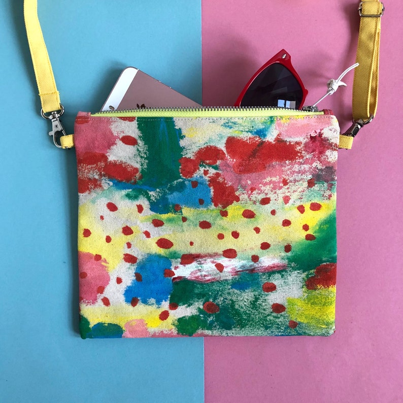 Hand Painted Cotton Canvas Crossbody Bag Abstract Art Zip image 0