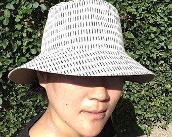Reversible Bucket Hat, Hairy Pattern Screen Printed Cotton Sun Hat, Hand Drawn Pattern Hat, Summer Fashion, Holiday Wear