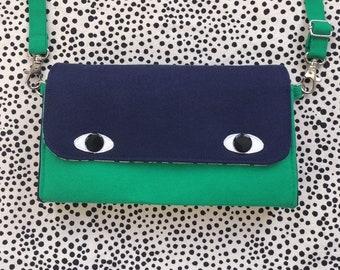 Eyebag Accordion Wallet, Necessary Wallet, Cross Body Bag, Screenprint Handmade Purse, Navy Face and Bottle Green Body