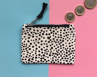 Screen-print Canvas Coin Purse, Dot Pattern Zip Pouch, Handmade Zip Bag, Monochrome Zip Case, Hand Painted Pattern