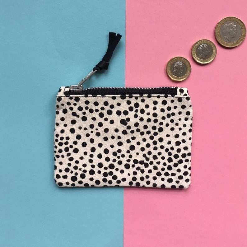 bc0285a51e51 Screen-print Canvas Coin Purse, Dot Pattern Zip Pouch, Handmade Zip Bag,  Monochrome Zip Case, Hand Painted Pattern