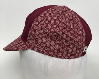 Tortoise and Hare Cycling Cap, Japanese Cotton Cycling Caps, Handmade Messenger Caps, Four Panel Bike Caps, Red Asanoha Pattern