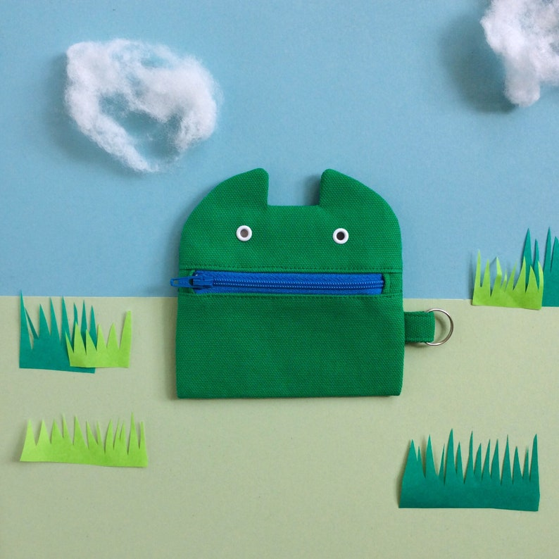 Zip Monster Coin Purse Green Cotton Canvas Zip Pouch Keyring image 0