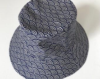 Reversible Bucket Hat, Cotton Sun Hat, Japanese Pattern Hat, Summer Fashion, Holiday Wear, Traditional Japanese Patterns