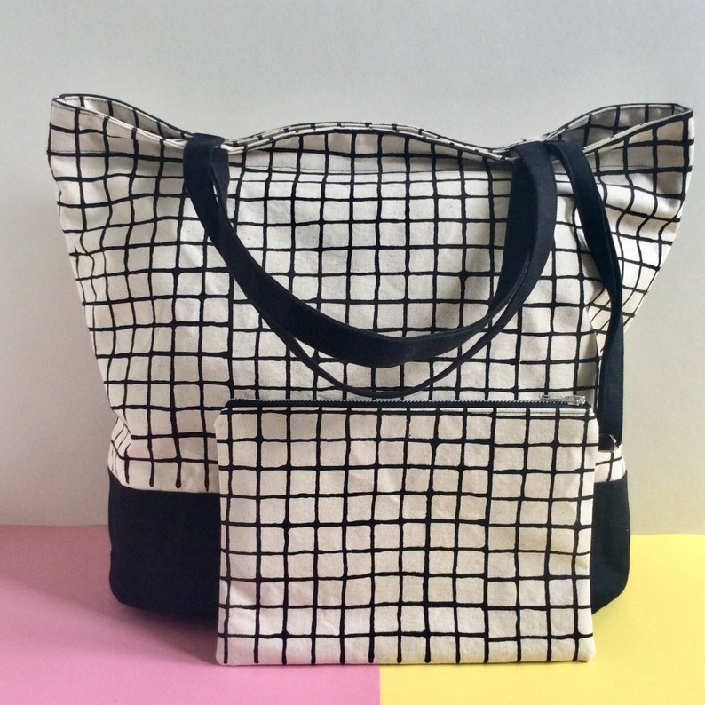 Screenprinted Canvas Tote Bag Large Bucket Bag Grid Pattern image 0