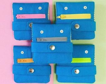 Hug Monster Wallet,  Cotton canvas Coin Purse, Screen print Bi-fold Wallet, Handmade, Blue