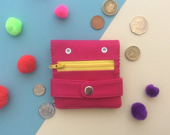 Hug Monster Wallet,  Cotton canvas Coin Purse, Screen print Bi-fold Wallet, Handmade, Pink