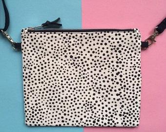Screen-print Crossbody Bag, Dot Pattern Zip Pouch, Handmade Zip Bag, Monochrome Handbag, Hand Painted Pattern