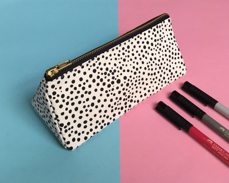 Screen-print Triangle Pencil Case Dot Pattern Zip Pouch image 0