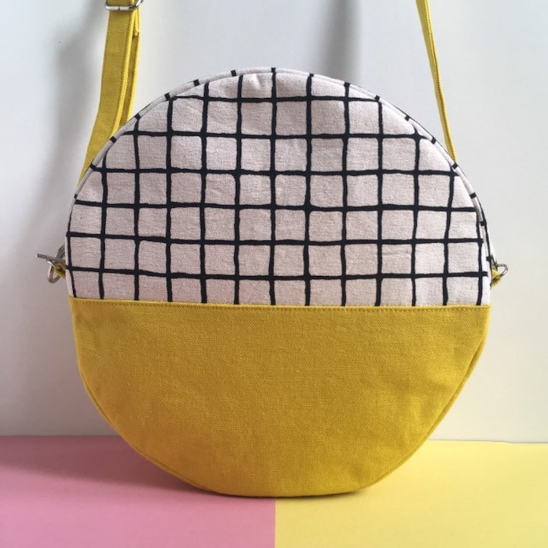 Pill Circular Crossbody Bag Screen Printed Colour Block image 0