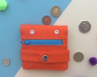 Hug Monster Wallet,  Cotton canvas Coin Purse, Screen print Bi-fold Wallet, Handmade, Orange