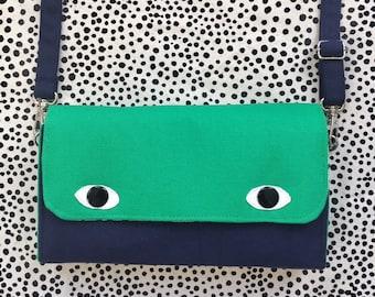 Eyebag Accordion Wallet, Necessary Wallet, Cross Body Bag, Screenprint Handmade Purse, Bottle Green Face and Navy Blue Body