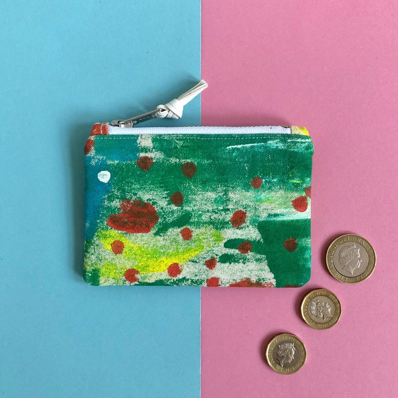 Hand Painted Cotton Canvas Coin Purse Abstract Art Zip Pouch image 0