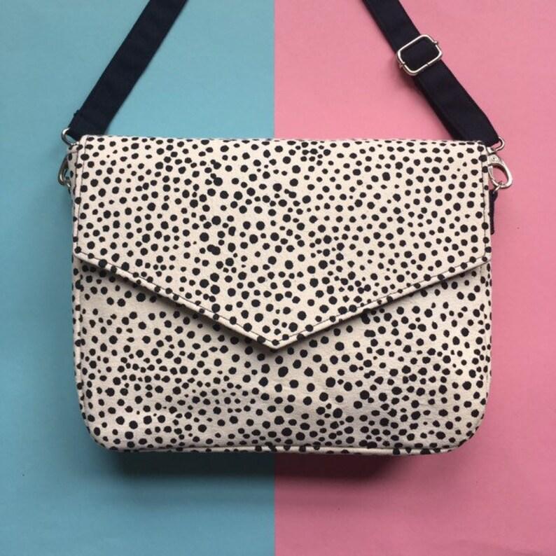 Silkscreen Printed Handbag Handprinted Crossbody Bag image 0