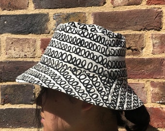 Reversible Bucket Hat, Loopy Pattern Screen Printed Cotton Sun Hat, Hand Drawn Pattern Hat, Summer Fashion, Holiday Wear