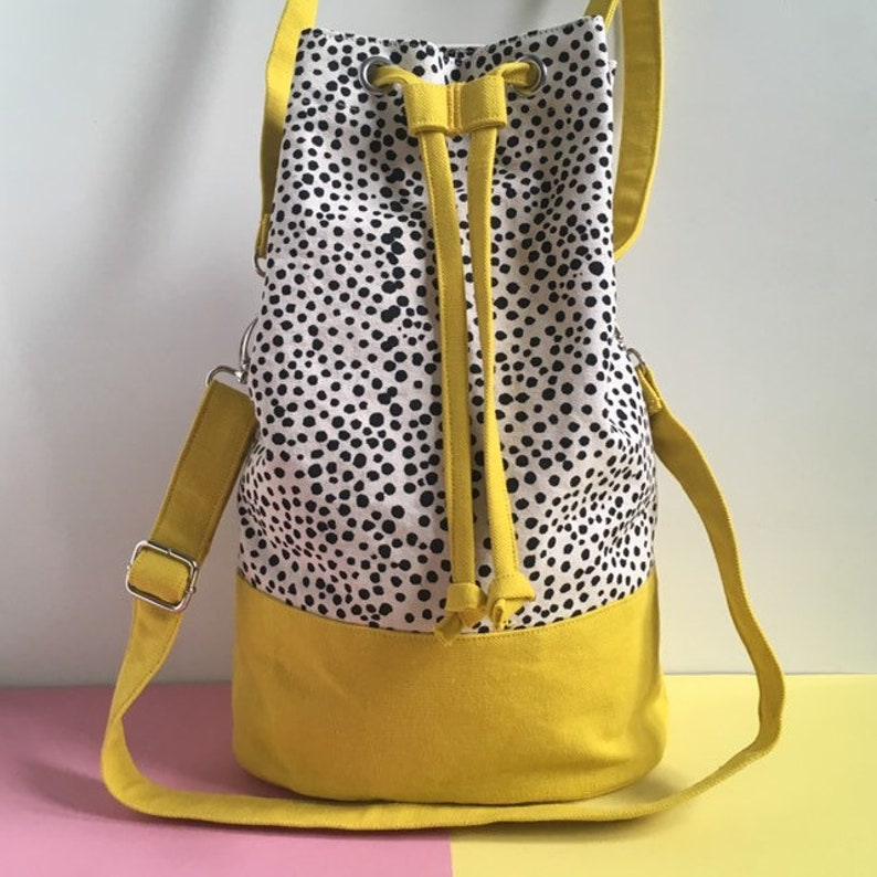 Screenprint Canvas Bucket Bag Colour Block Yellow Shoulder image 0