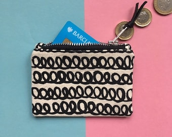Screen-print Canvas Coin Purse, loopy Pattern Zip Pouch, Handmade Zip Bag, Monochrome Zip Case, Hand Painted Pattern