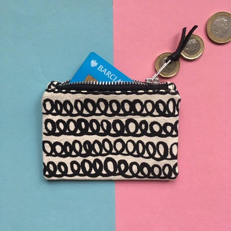 Screen-print Canvas Coin Purse loopy Pattern Zip Pouch image 0