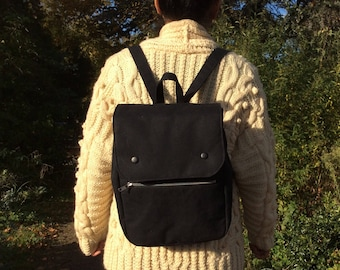 Cotton Canvas Backpack, Black, Blue, Red, Small Rucksack, handmade screen print