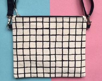 Screen-print Crossbody Bag, Grid Pattern Zip Pouch, Handmade Zip Bag, Monochrome Handbag, Hand Painted Pattern