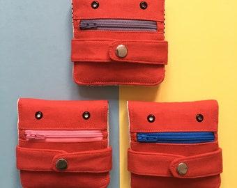 Hug Monster Wallet,  Cotton canvas Coin Purse, Screen print Bi-fold Wallet, Handmade, Red