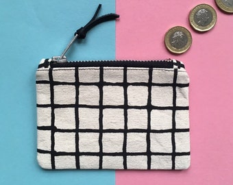 Screen-print Canvas Coin Purse, Grid Pattern Zip Pouch, Handmade Zip Bag, Monochrome Zip Case, Hand Painted Pattern