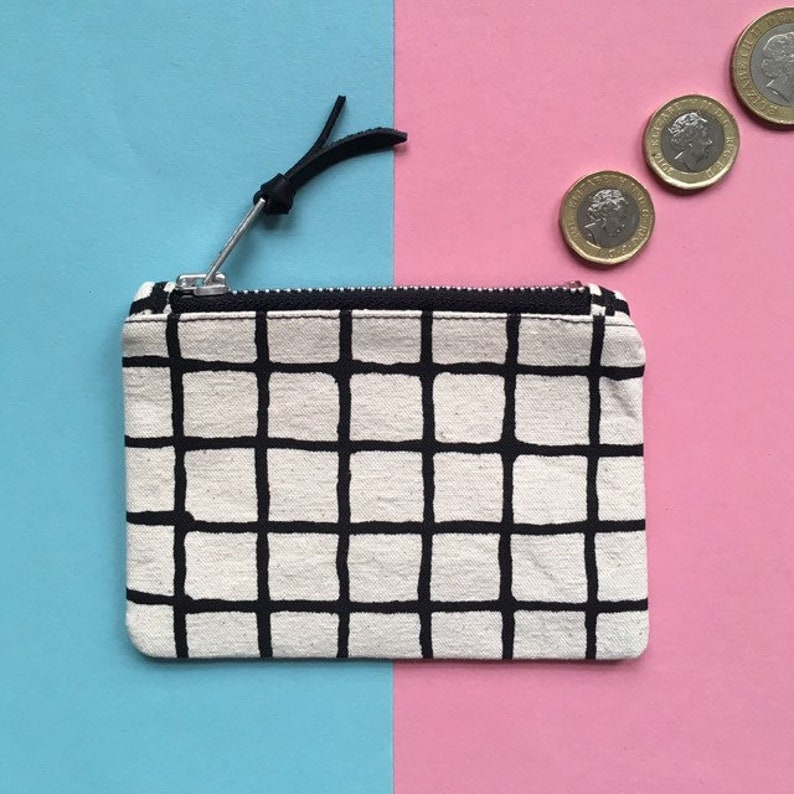 Screen-print Canvas Coin Purse Grid Pattern Zip Pouch image 0