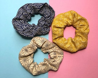 Japanese cotton scrunchies, handmade hair ties, traditional Japanese patterns