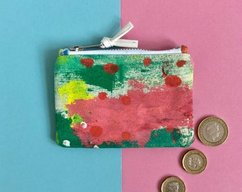 Hand Painted Cotton Canvas Coin Purse, Abstract Art Zip Pouch, Small Zip Case, Original Painting, One of a kind