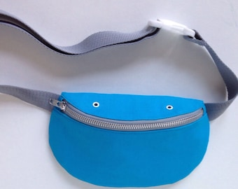 Light blue bumbag, hip bag, fanny pack, cotton canvas handmade