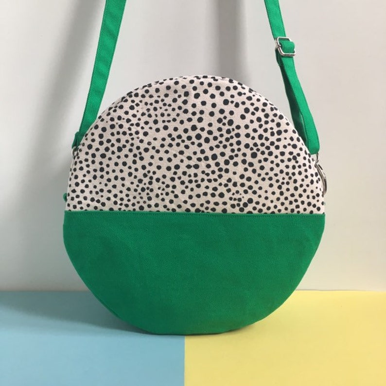 Pill Circular Crossbody Bag Screen Printed Colour Block Green image 0