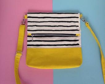 Screenprinted Colour block Folding Crossbody bag, Striped pattern Cotton Canvas Shoulder Bag, Yellow