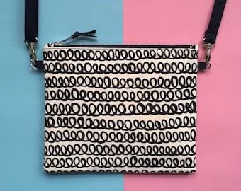 Screen-print Crossbody Bag, Loopy Pattern Zip Pouch, Handmade Zip Bag, Monochrome Handbag, Hand Painted Pattern