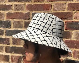 Reversible Bucket Hat, Grid Pattern Screen Printed Cotton Sun Hat, Hand Drawn Pattern Hat, Summer Fashion, Holiday Wear