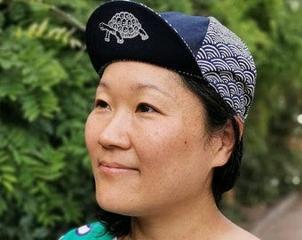 Tortoise and Hare Cycling Cap, Japanese Cotton Cycling Caps, Handmade Messenger Caps, Four Panel Bike Caps, Navy Seigaiha Wave Pattern
