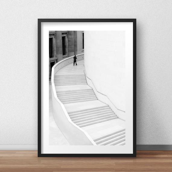 British Museum London Street Photography Black and White Architecture Staircase Minimalist Fine Art Print Interior