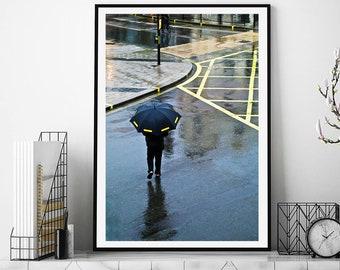 London Print, street photography London, Yellow art print, Yellow wall art, Yellow home decor, London photography, London poster, Prints