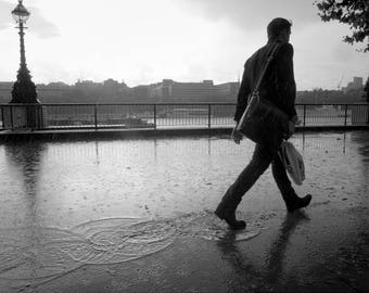 Southbank London, Street Photography Print, London in Black and White, Rainy Day
