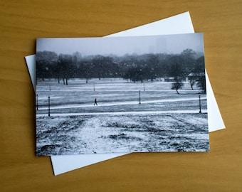 Snow Greeting card, Primrose Hill, Winter art card, greeting card, blank greeting cards, Snow cards, Winter greeting card, snow art postcard