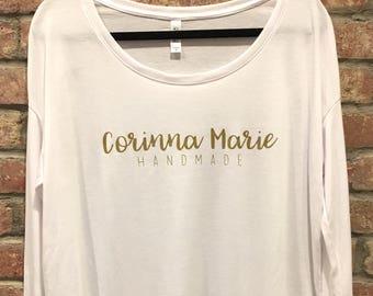 For Makers - Custom Maker Small Business Long Sleeve Shirt, Rib Sleeves, Women's Shirt, Flowy Top