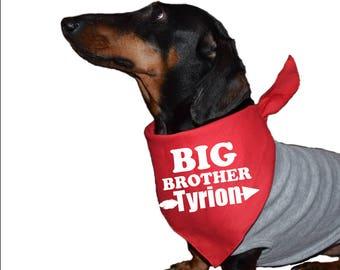 personalized dog bandana, big brother dog bandana, big brother dog announcement, baby announcement dog, dog baby announcement, baby reveal