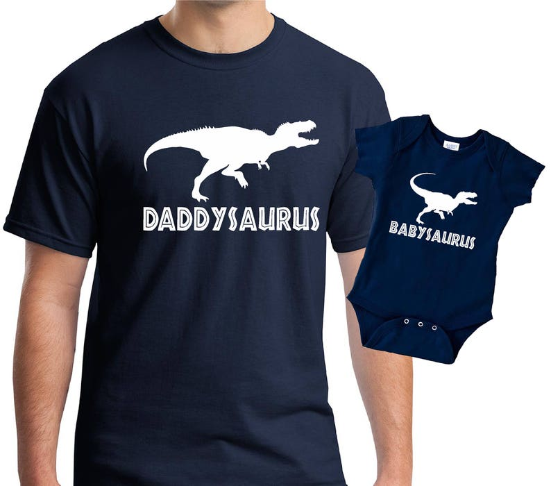 Daddysaurus babysaurus Father t-shirt and baby bodysuit baby grow set with t-rex
