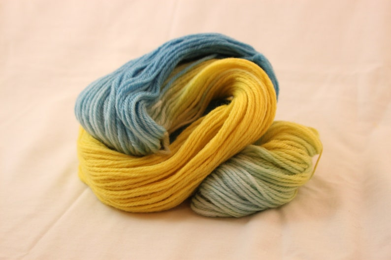 Yellow and White Bright Blue Hand Dyed Worsted Weight Peruvian Highland Wool Yarn