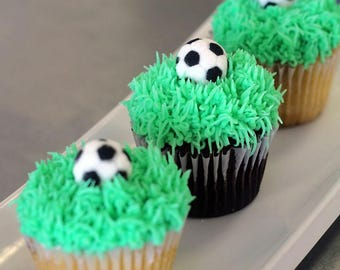 """Edible Soccer Ball Toppers 1""""  #24 toppers"""